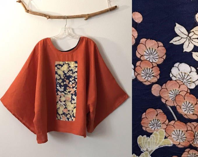 orange linen top with vintage kimono panel /  ready to wear top / oversized / over size top / linen kimono / women linen kimono / plus size