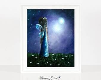 Heaven's Little Helper, Fairy Art Prints, Home Decor Wall Art, Fairy Pictures, Purple, Night, Starry Night, Fantasy Art, Giclee Prints, 8x10