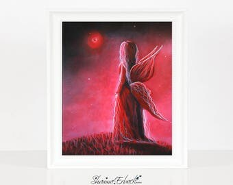 Ruby Fairy - Gift For Daughter - Wife - Niece - Birthday Gifts - July Birthstone - Fairy Art - Wall Art - Fine Art Prints - For Bedroom