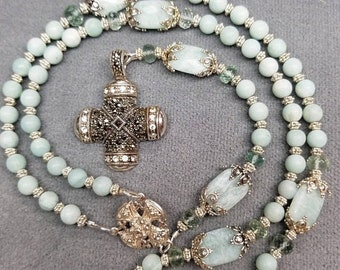 SALE Rosary Seafoam Aquamarine Sterling Silver First Communion, Confirmation Unique Marcasite Cross HeartFelt Rosaries