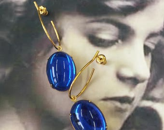 Vintage West German Glass Sapphire 13x18 Cabochons In Brass Settings with Gold Plated Earring Kit Option 2203GOL x2