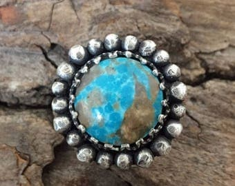Sterling Silver - Flower Compass Turquoise Ring