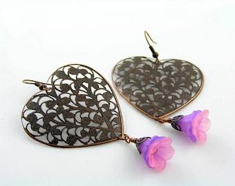 Large Filigree Heart Earrings, Purple Flower Earrings, Pink and Purple Earrings, Copper Earrings, Heart Jewelry, Filigree Jewelry