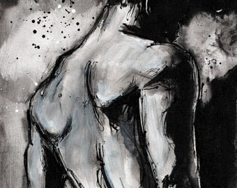 nude art PRINT - select 8x6in or 8x12in or 16x12in A5 A4 A3 -  figure sketch print
