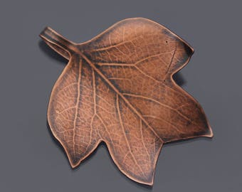 Small Tulip Tree Leaf, copper leaf ornament, botanical decor, leaf pendant, hostess gift