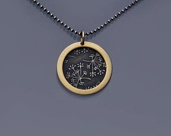 14k Gold Framed Sterling Silver Queen Anne's Lace Necklace with Oxidized Silver Chain