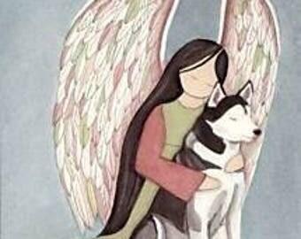 Siberian Husky with Angel / Lynch signed folk art print