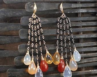 Summer SALE Mexican Fire Opal earrings, Black Spinel cluster dangle gemstone earrings, October Birthstone, CZ pave Vermeil hooks ... ORIEL E