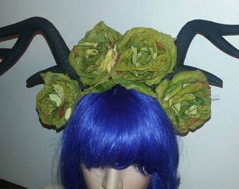 Deer horns, Rose crown, flower crown, Fairy, Fairy horns, Rose, green rose, halloween, Cosplay