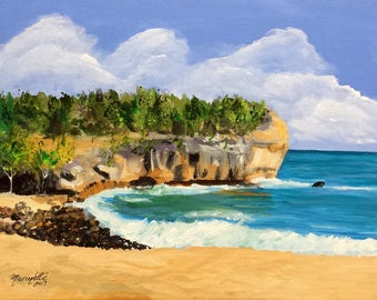 shipwreck's beach kauai original acrylic painting hawaii hawaiian paintings cliffs ocean beach seascapes interior decor kauai fine art decor