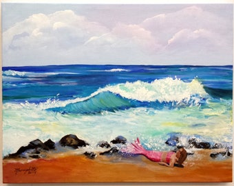 Be a Mermaid Original Acrylic Painting from Kauai Hawaii by Artist Marionette Taboniar