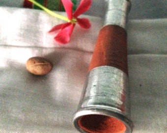 Sadhu's River Clay and Silver Metal Chillum Pipe