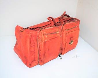 caramel leather duffel bag 70s vintage retro genuine leather unisex gym bag