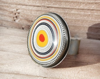 Fordite ring, Detroit agate adjustable ring, cocktail ring, sterling silver statement ring, wife gift for her, Fordite jewelry