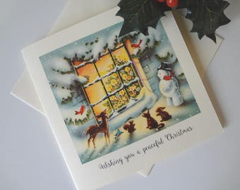 Christmas Greeting Card Forest Friends Snowman Look Through Window Retro Mid Century Illustration - I Will Post for You - EnglishPreserves