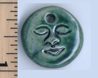 Raku Man in the Moon Face Charm
