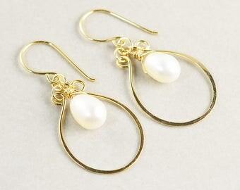 Pearl Hoop Earrings, Gold Hoop Earrings, White Pearl Earrings, Neutral