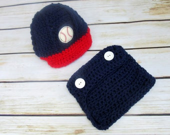 Newborn Baseball Outfit, Baby Boy Hat and Diaper Cover Set, Baby Baseball Hat, Newborn Baseball Cap, Red, Navy Blue, Infant Boy Photo Prop