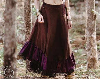 New! NYMPF LINEN SKIRT - Bohemian Boho Hippie Gypsy Steampunk Burning man Tribal Steam punk Belly Dance Plus size Witch - Purple Brown