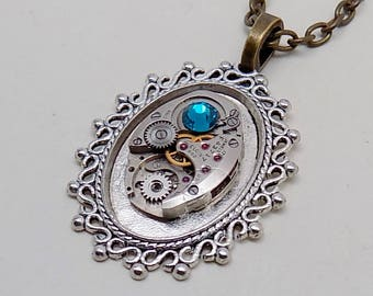 Steampunk pendant. Steampunk  necklace.
