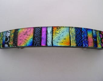 Large dichroic glass barrette.