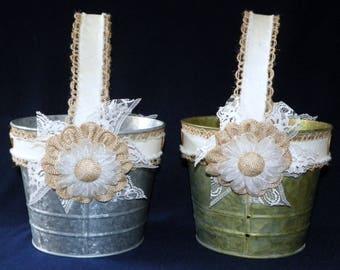 Rustic Flower Girl Basket in Grey Galvanized or Green Patina 6 Inch Metal Bucket