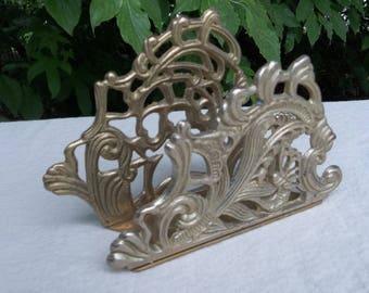 Brass Letter Holder Vintage Brass Napkin Holder Ornate Mail Holder Orrice Decor Desk Accessory