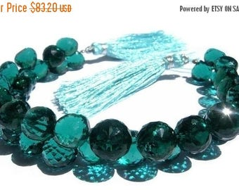 50% Off Sale 1/2 Strand - Teal Blue Quartz Micro Faceted Onion Shaped Briolettes Half strand 3.5 inches 9 - 10mm approx