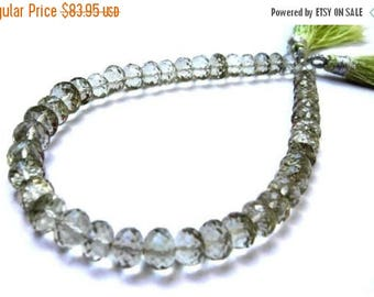 "50% Off Sale 8"" Finest Quality Natural Green Amethyst Micro Faceted Rondelle Beads Size 6 - 7mm approx"