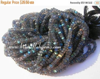 50% Off Sale Blue flashy Labradorite micro faceted rondelles 3.5mm full 14 inch strand