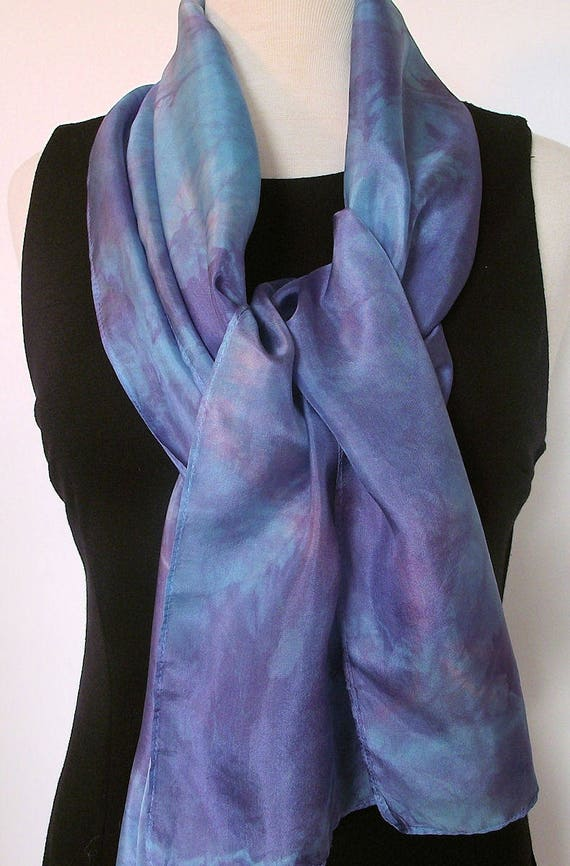 Hand Dyed Silk Scarf, Turquoise and Purple, Shibori Dyed, Large Scarf 14x72""