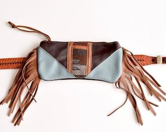Fanny Pack, pendleton bag, Leather fanny pack, fringe clutch, fringe fanny pack, Southwestern bag