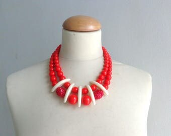 red necklace, colourful chunky necklace, modern tribal necklace, statement red cream necklace