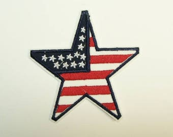 Flag Star Embroidered Applique Iron On