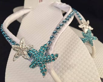 Gwen Bridal Flip Flops, Custom Flip Flops, Dancing Shoes, Blue Starfish Bridal Sandals, Wedding Flip Flops, Beach Wedding Shoes