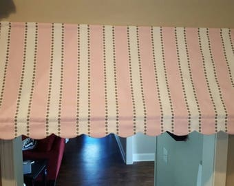 Pink Striped Awning Valance Scalloped Edge Pink And Grey