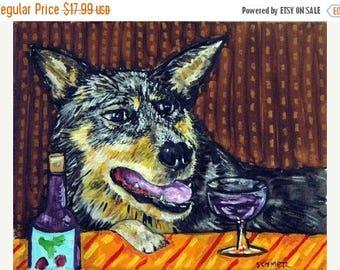 20% off storewide Australian Cattle Dog at the Wine Bar Dog Art  Print  Gift