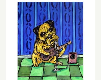 20% off Border Terrier Playing the Guitar Dog Art Print