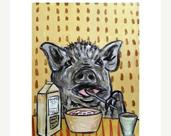 20% off Pot Belly Pig Eating Cereal Art Print
