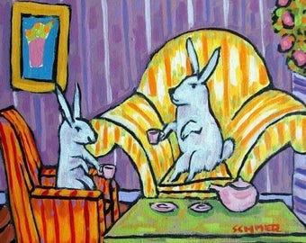 20% off Bunny Rabbits Having Tea Animal Art Tile Coaster Gift