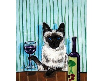 20% off Siamese Cat at the Wine Bar Cat Art Print