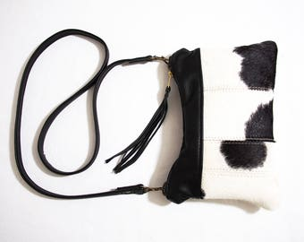Cross body Purse in Black and White Hair On Cowhide Leather Labor Sale