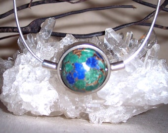 LAPIS-MALACHITE-Metal-Matrix-hand-cut -Stone Sphere Necklace