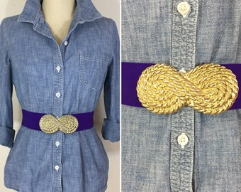 80s Wide Purple Stretch Belt with Gold Swirl Buckle, Size Large to XL