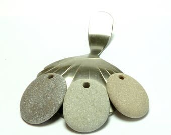 Drilled Beach Stones PLATINUM Pendants Pebbles River Rocks diy Charms Jewelry Focals Organic Eco Silvery Grey Shimmer Pearl