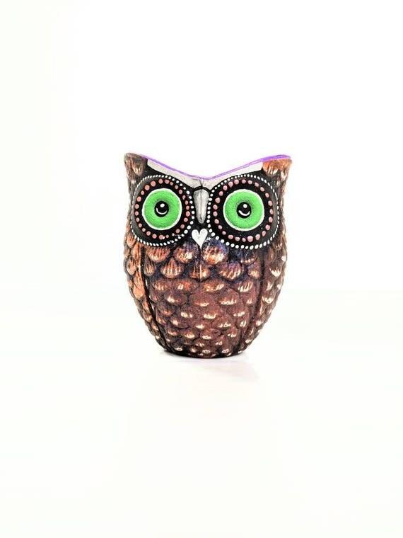 Orange and black hand painted Owl shaped votive candle holder