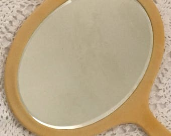 Celluloid Hand Vanity Mirror, Celluloid Mirror, 1940's Vanity Mirror, Vintage Vanity Decor
