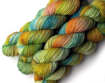 Hand Dyed Yarn Merino DK Light Worsted Yarn Superwash - Field and Stream, 250 yards