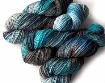 Hand Dyed Yarn Aran SW Merino, Cashmere and Nylon - Glacier, 180 yards