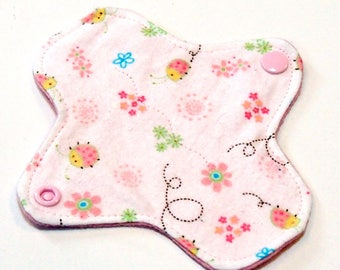 "6"" Reusable Cloth winged ULTRATHIN Pantyliner - Baby Ladybugs -Cotton flannel top"